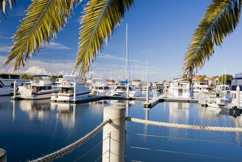 Marina un jour ensoleillé avec le ciel bleu photographie stock