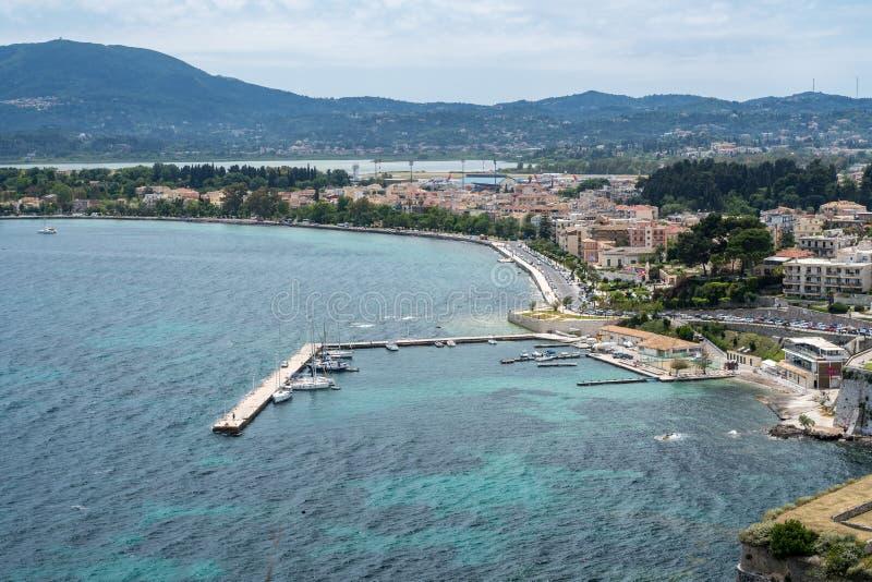 Marina vid Kerkyra på ön av Korfu arkivfoto