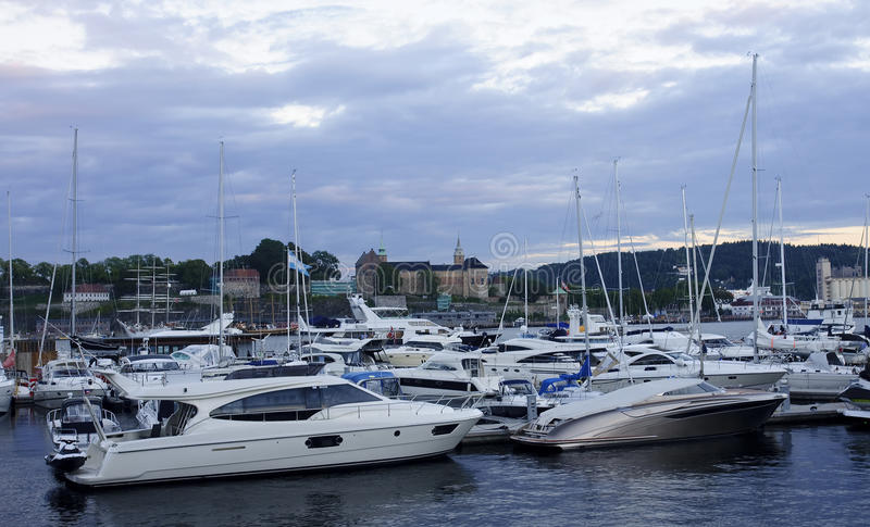 Marina with a view of Akershus Fortress in Oslo stock images