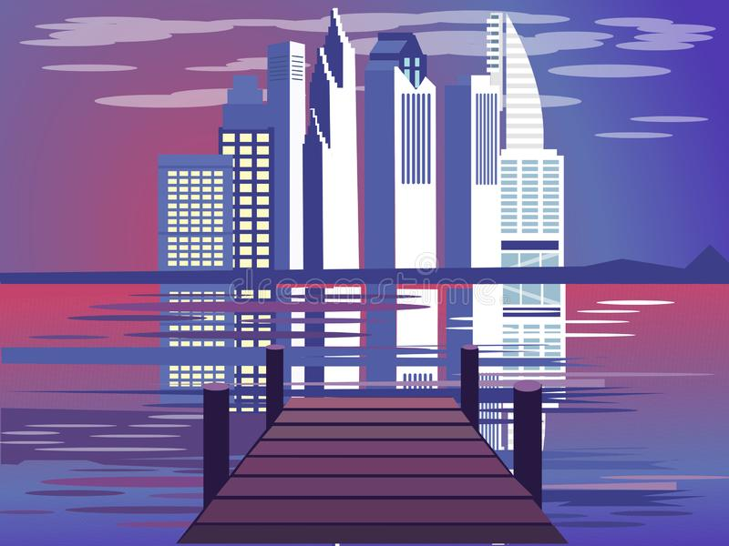 Marina with a view of the city, civilization. In minimalist style. Cartoon flat vector. Illustration royalty free illustration