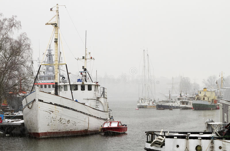Download Marina in winter. stock image. Image of maritime, vessel - 23043187