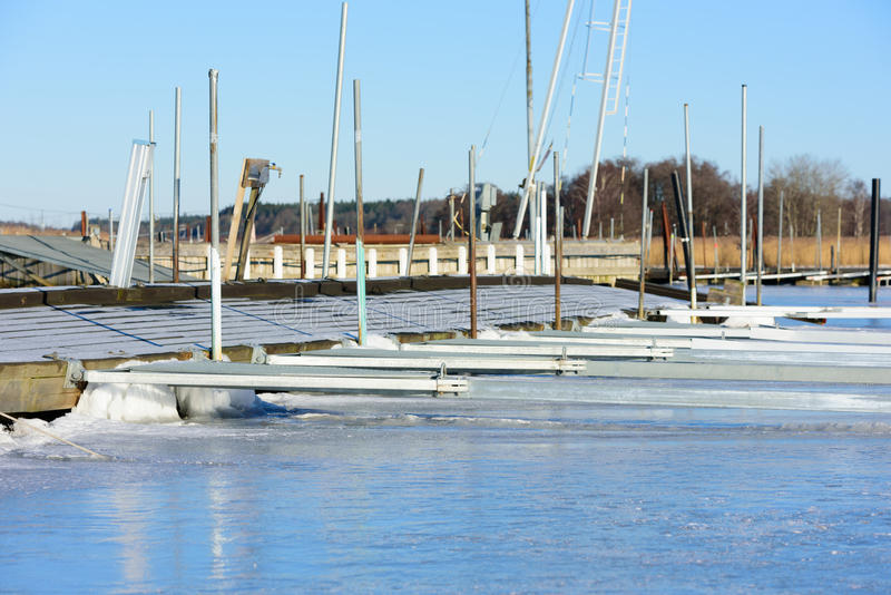 Marina in winter royalty free stock photography