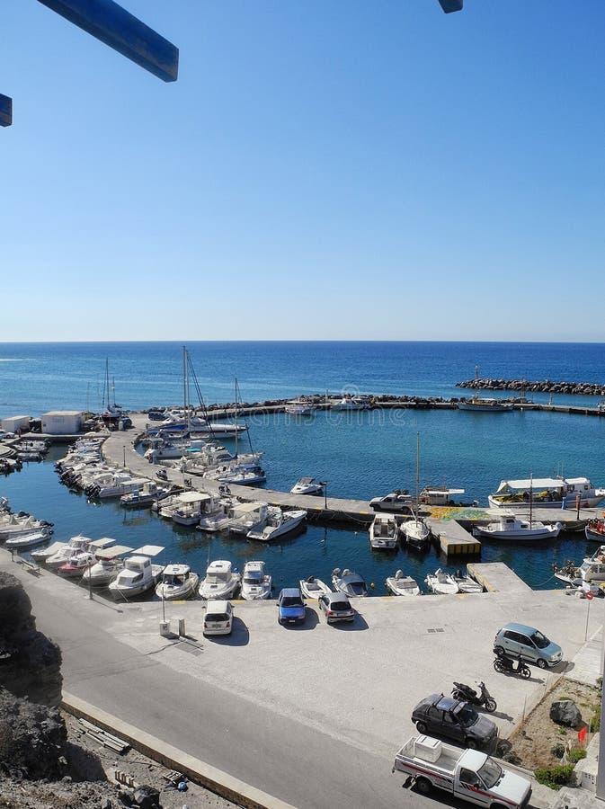 Marina Yacht Greece, isola di Santorini fotografia stock libera da diritti