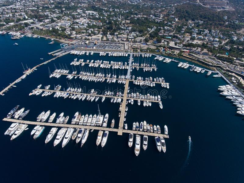 Marina in Yalikavak Bodrum. An aerial view of the marina in Yalikavak, Bodrum, Turkey royalty free stock photos