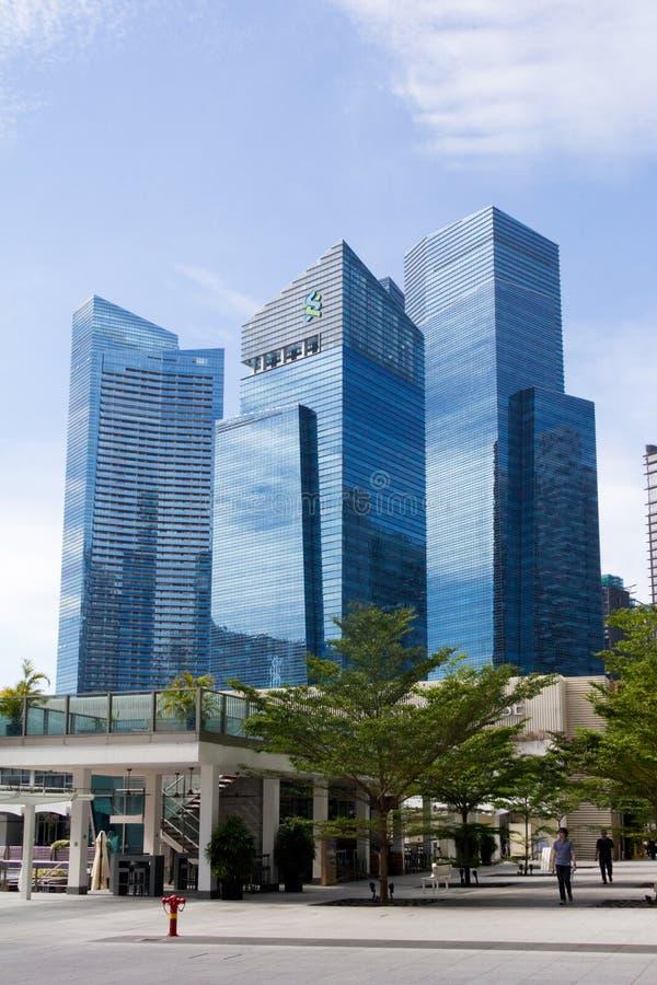 Marina zatoki centrum finansowe MBFC góruje bierze od Collyer Quay, Singapur obraz stock