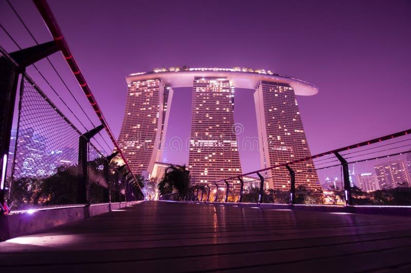 Marinabay Sands w Garden by Bay w nocy zdjęcie stock