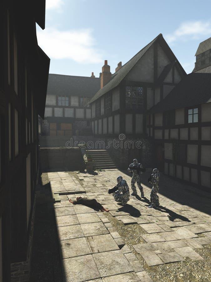 Marinai futuri dello spazio in una città medievale illustrazione di stock