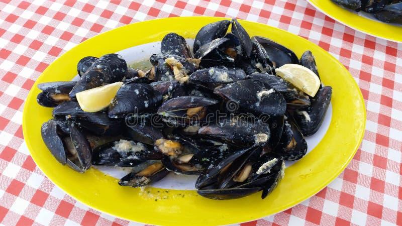 Marinara-Miesmuscheln sind ein einfaches, schnelles und geschmackvolles Fischgericht, das als Aperitif oder als erster Kurs ausge lizenzfreies stockbild