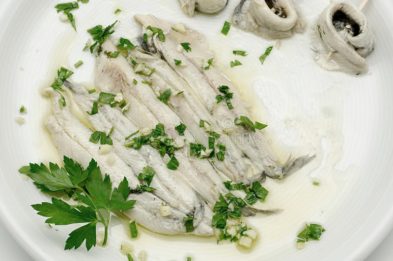 Marinated anchovies in vinegar and olive oil royalty free stock photo
