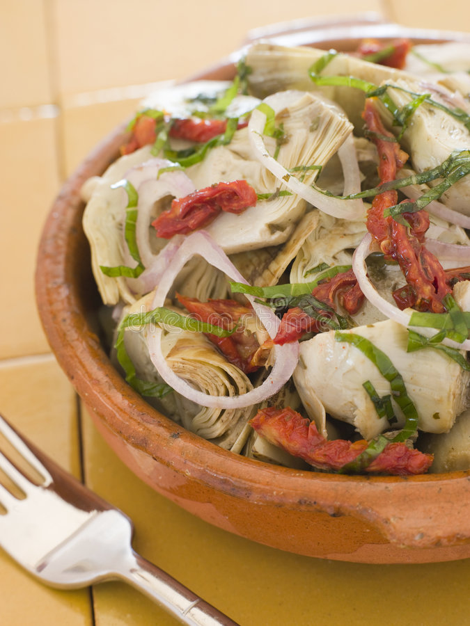 Download Marinated Baby Artichokes Tomato Vinaigrette Stock Photo - Image: 5949866