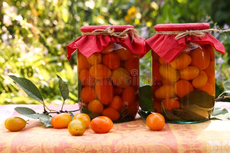 Marinated cherry tomatoes in jars on a table in the garden. Some of the tomatoes are scattered on the table stock photos