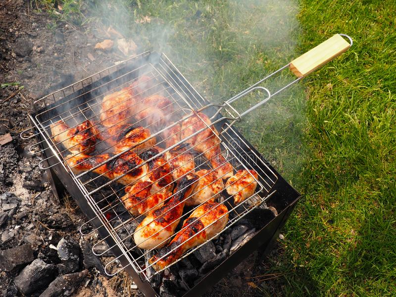 Meat fried on a grill royalty free stock images