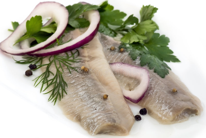 Marinated herring stock images