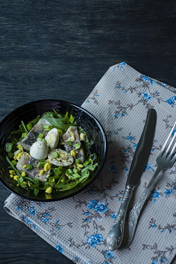 Marinated herring with arugula, onions, boiled quail eggs and lemon juice and olive oil. Delicious salad. Proper nutrition. Dark stock images