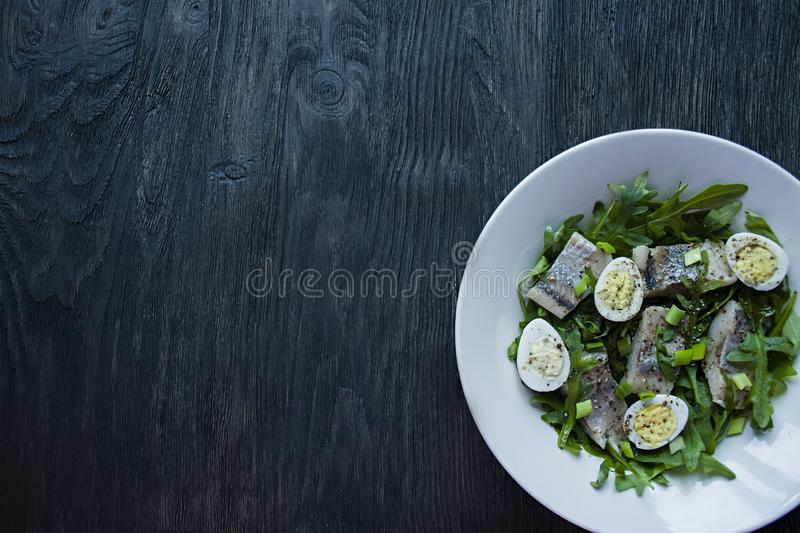 Marinated herring with arugula, onions, boiled quail eggs and lemon juice and olive oil. Delicious salad. Proper nutrition. Dark stock image
