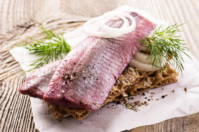 Marinated Herring Fillet stock images