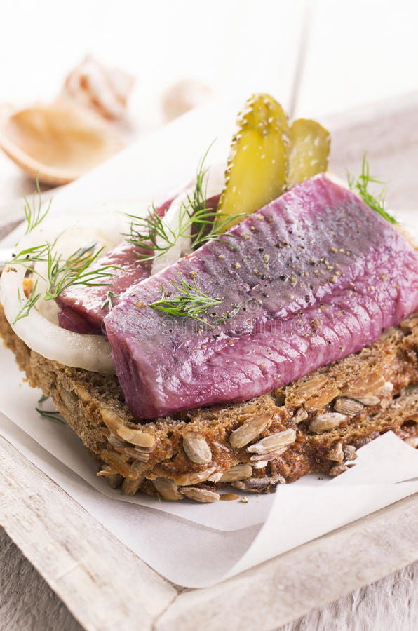 Marinated Herring Fillet stock photography