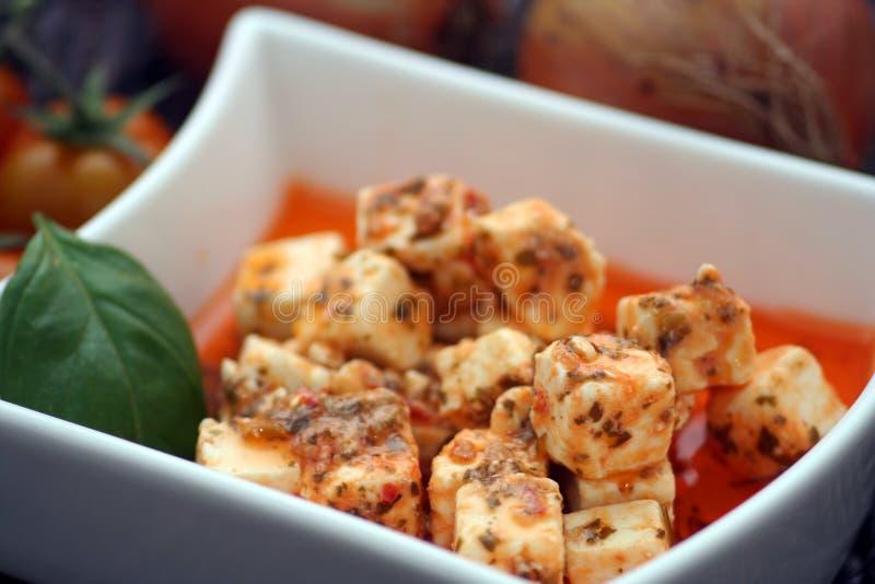 Marinated Italian Cheese royalty free stock photos