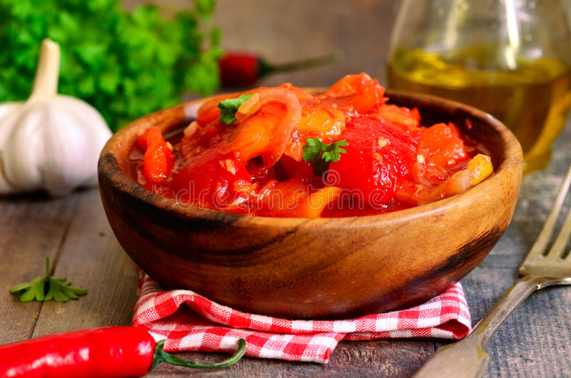 Marinated lecho,hungarian cuisine. Marinated lecho, traditional hungarian cuisine royalty free stock photos