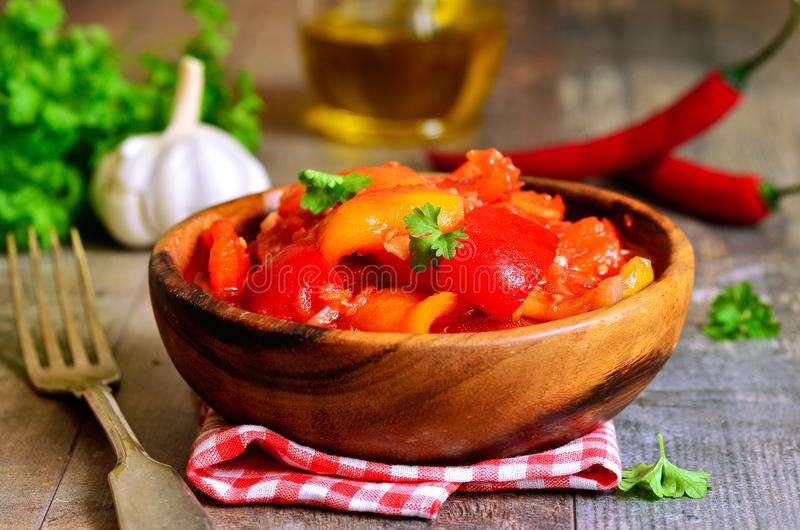 Marinated lecho,hungarian cuisine. Marinated lecho, traditional hungarian cuisine stock image