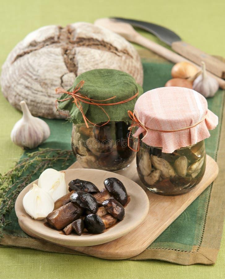 Marinated mushrooms royalty free stock images