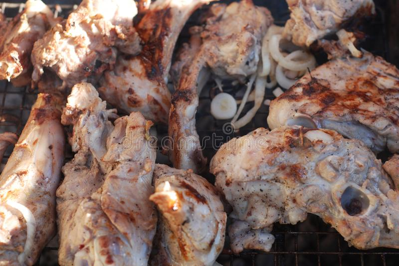 Marinated Mutton Lamb Meat Barbeque Preparing Barbecue grill over charcoal. BBQ Picnic Summer Food. Marinated Mutton Lamb Meat Barbeque Preparing Barbecue grill royalty free stock photos