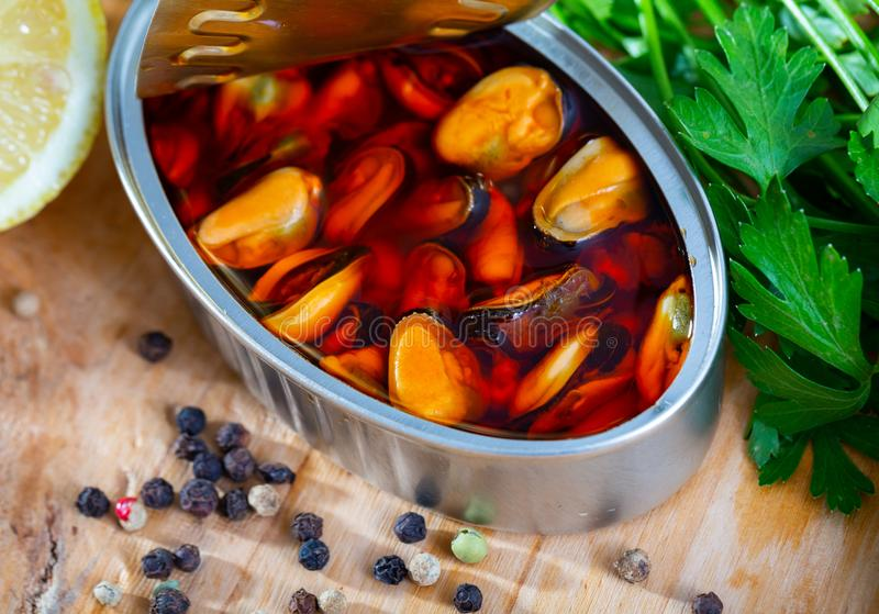 Marinated in oil mussels royalty free stock photos