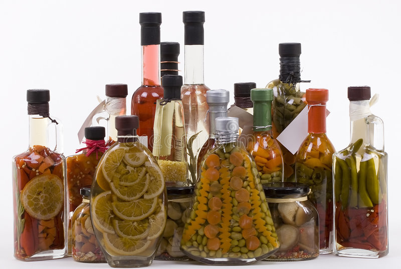 Marinated Products: Fruits, Vegetables, Mushrooms stock images