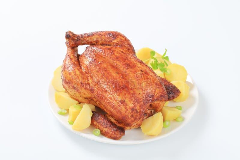 Marinated a rôti le poulet avec des pommes de terre photo stock