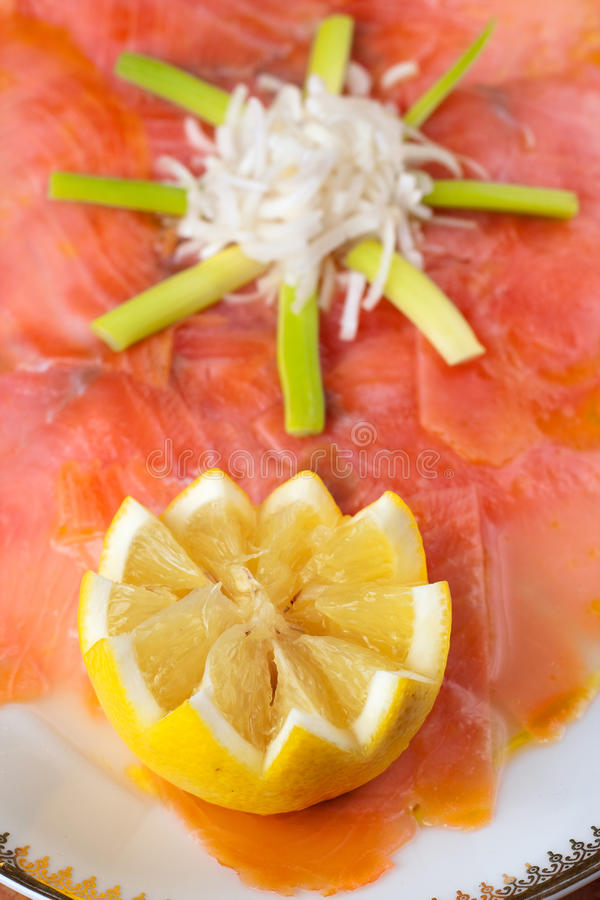 Download Marinated Smoked Salmon stock photo. Image of ring, course - 12361624