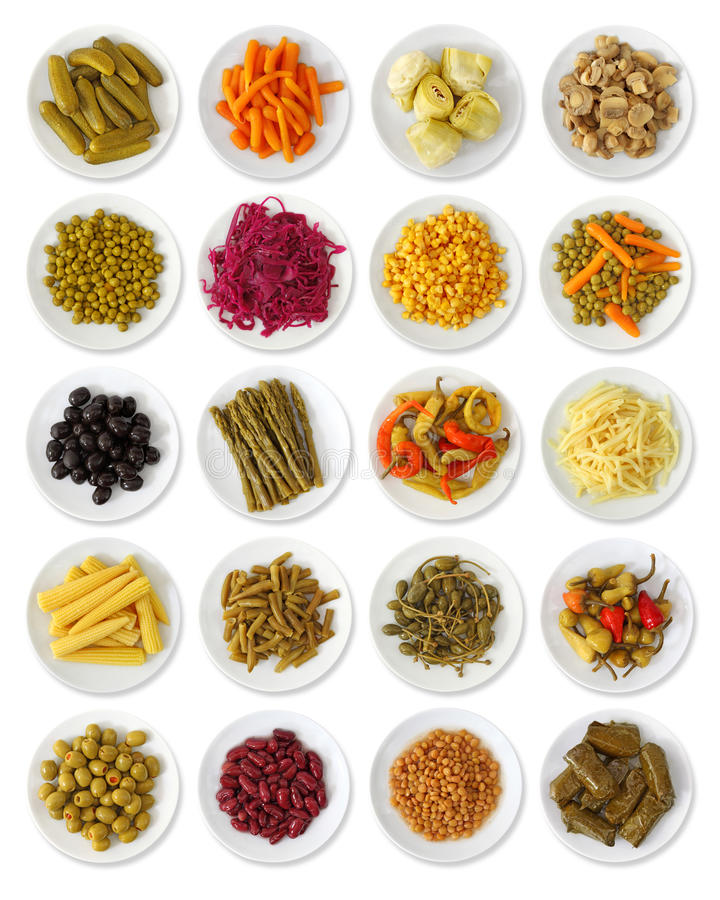 Marinated vegetables collection stock photography