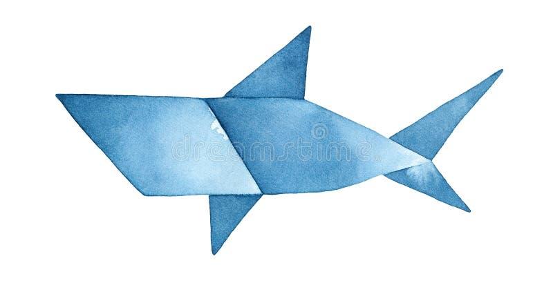 Marinblå illustration för origamihajakvarell royaltyfri illustrationer