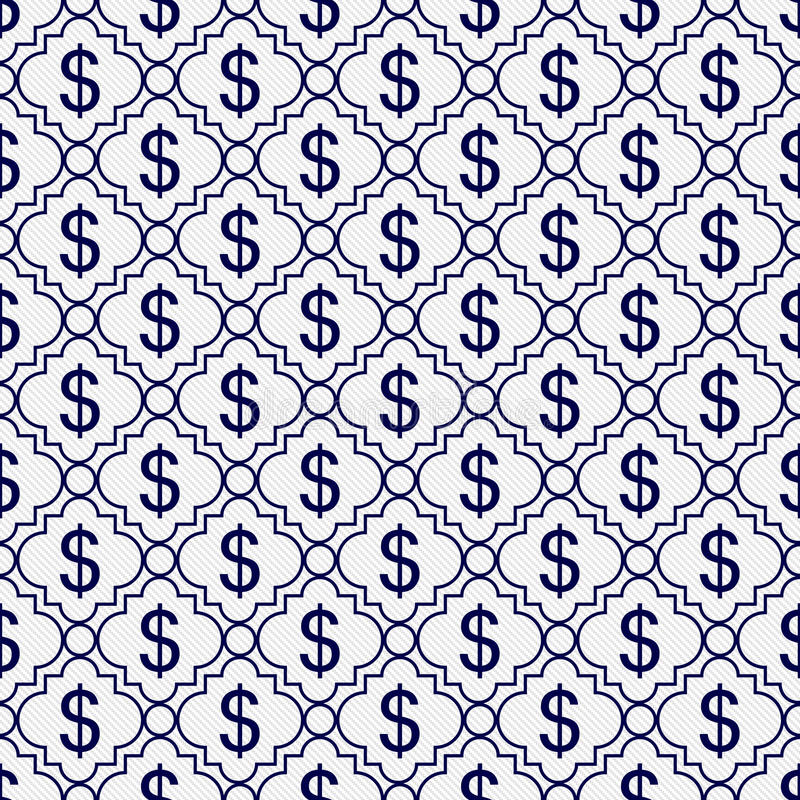 Marinblå och vit bakgrund för repetition för modell för dollartecken royaltyfria foton