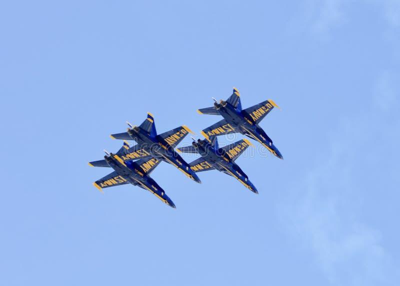 Marinblåa änglar i flykten royaltyfri foto