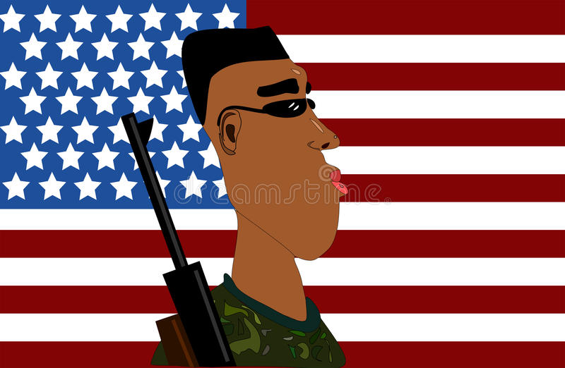 Marine With American Flag Stock Photo