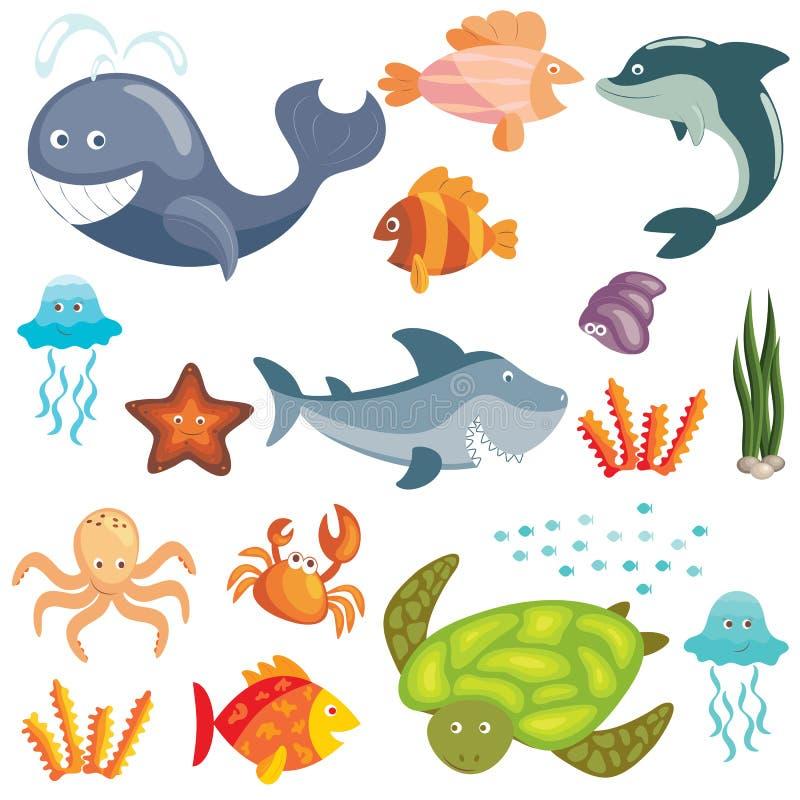 Marine animals set. Set of cute cartoon sea animals on white background vector illustration