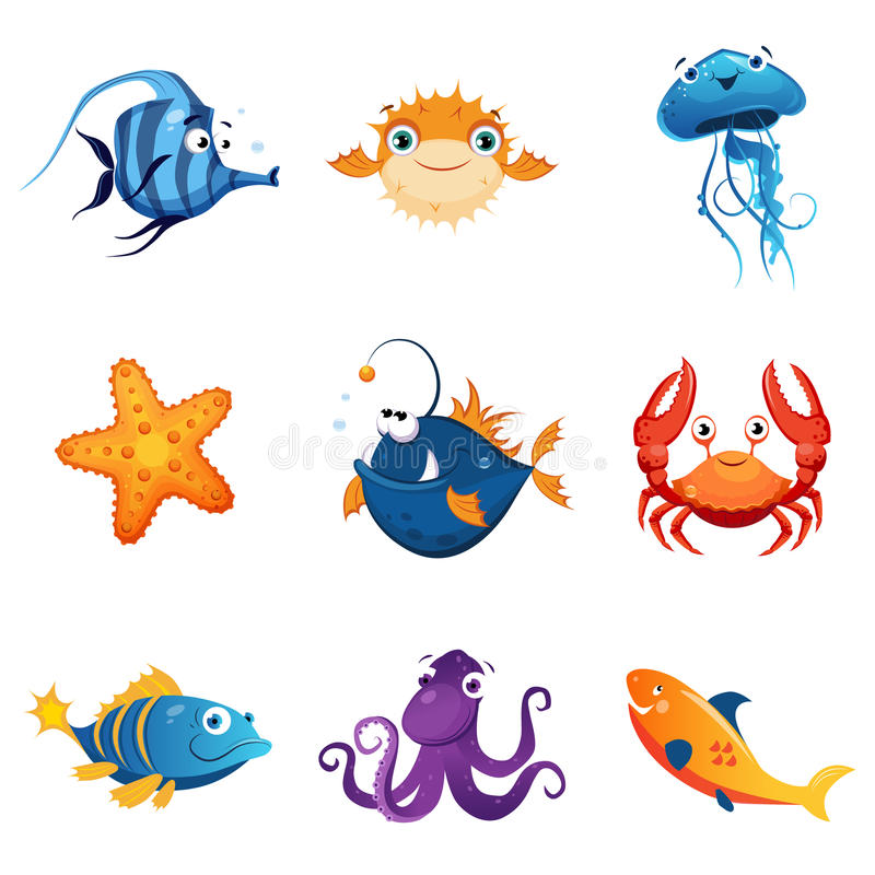 Marine Animals Set colorida ilustração stock
