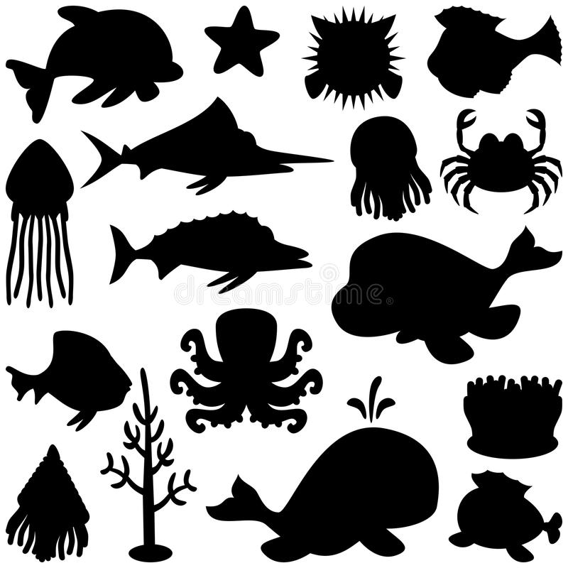 Marine Animals Silhouettes Set. Collection of cartoon marine animals silhouettes, isolated on white background. Eps file available vector illustration