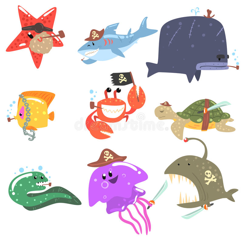 Marine Animals And Underwater Wildlife met van Piraattoebehoren en Attributen Reeks Grappige Beeldverhaalkarakters royalty-vrije illustratie