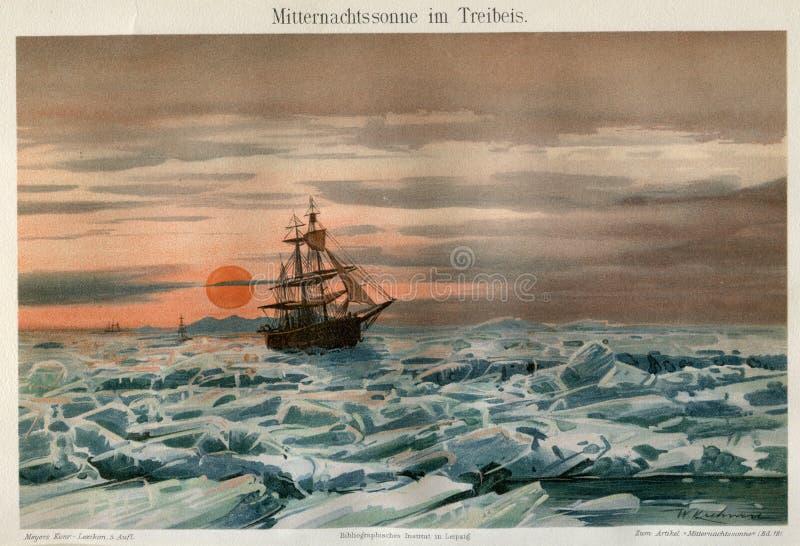 1894 MARINE ARCTIC ICE SAILING SHIP royalty free stock image