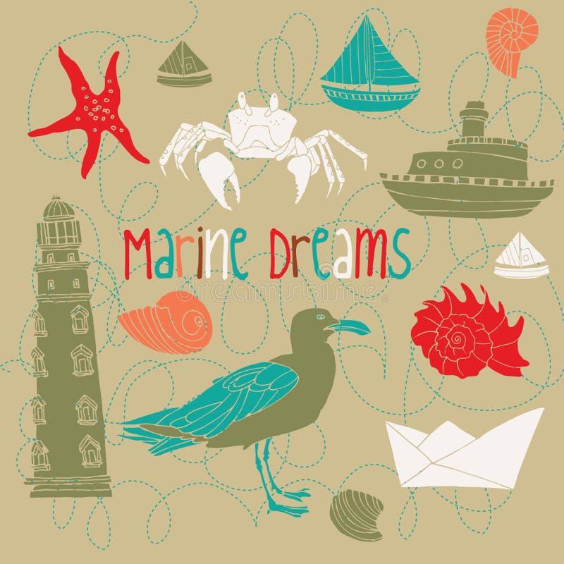 Marine background illustration vector illustration
