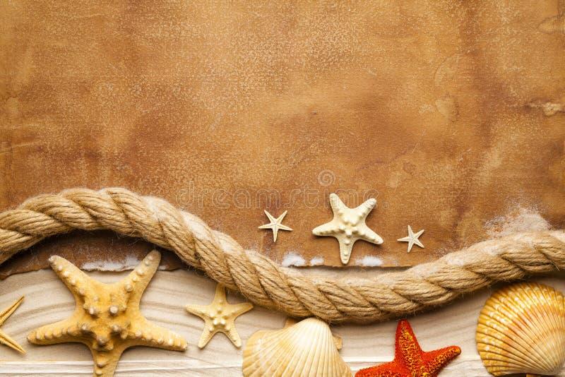 Marine background - seashells, hawser, beach sand and blank paper sheet royalty free stock photos