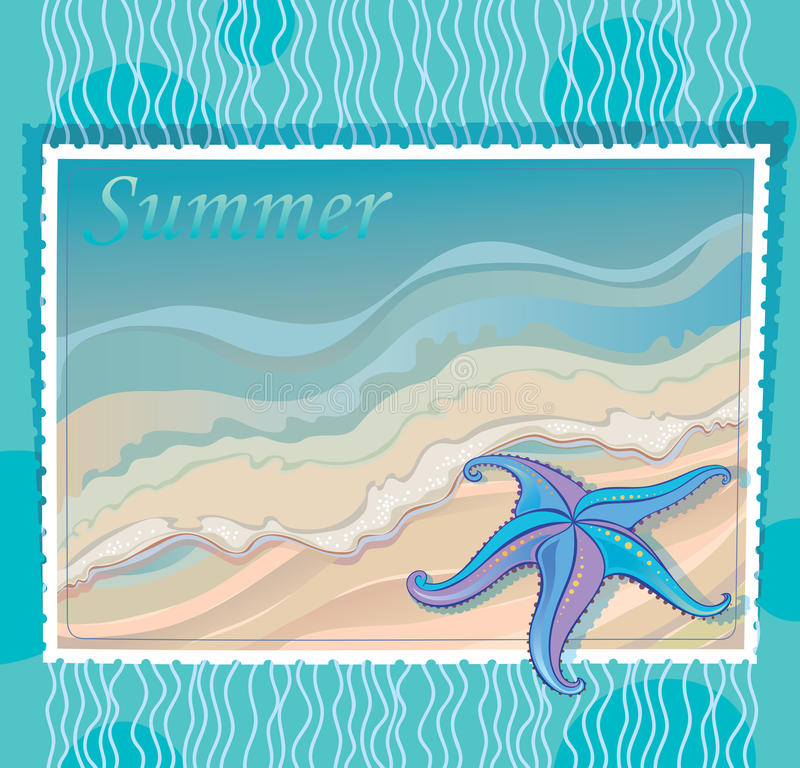 Download Marine Background With Starfish Stock Vector - Image: 24169234