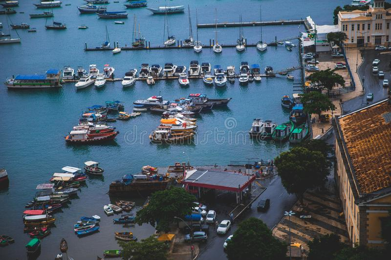 Marine in Bahia, Salvador - Brazil. With the view of the bay stock image