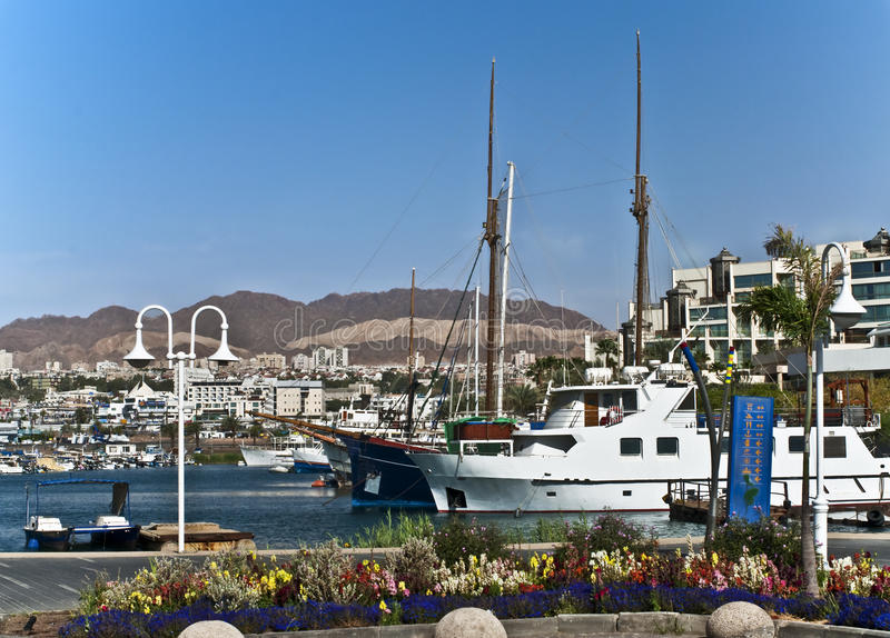 Marine bay of Eilat. This shot was taken at Eilat city - one of the famous tourist spot and resort city in Israel stock photography