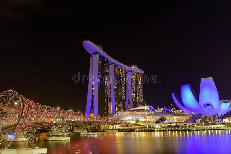 Marine bay near the Gardens by the Bay. Night view of the light tree show in Singapore. Singapore, 19, April, 2018 : Marine bay near the Gardens by the Bay royalty free stock image