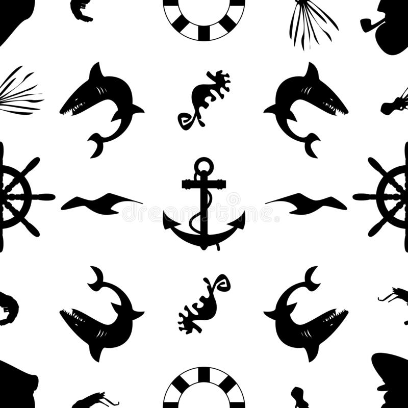 Marine black white pattern royalty free illustration