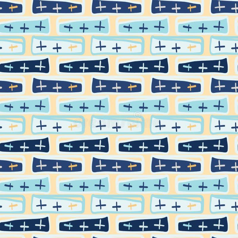 Marine-Blau kreuzt abstraktes nahtloses Vektor-Muster lizenzfreie abbildung