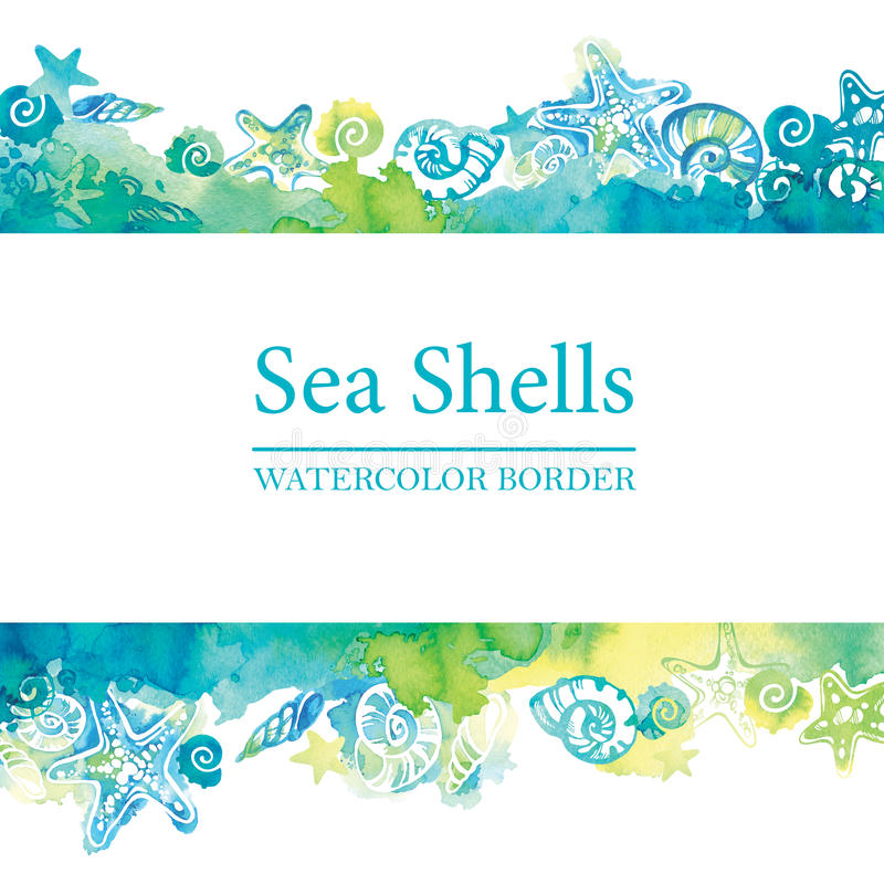 Marine border with watercolor sea shells. Sea life frame. Summer travel background. Underwater vector illustration