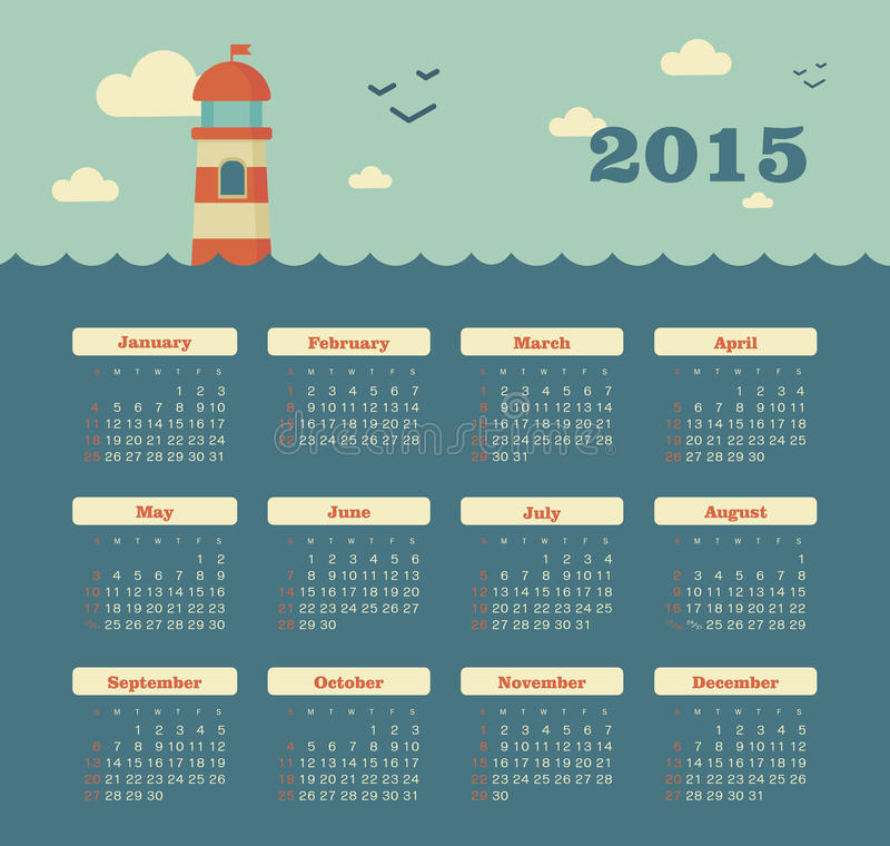 Download Marine Calendar 2015 Year With Lighthouse Stock Vector - Image: 43209085